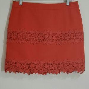 J. Crew Skirt, Orange Lace and Cotton, Sz 4